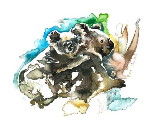 Koala and Joe, 21cm x 15cm, acrylic ink on paper