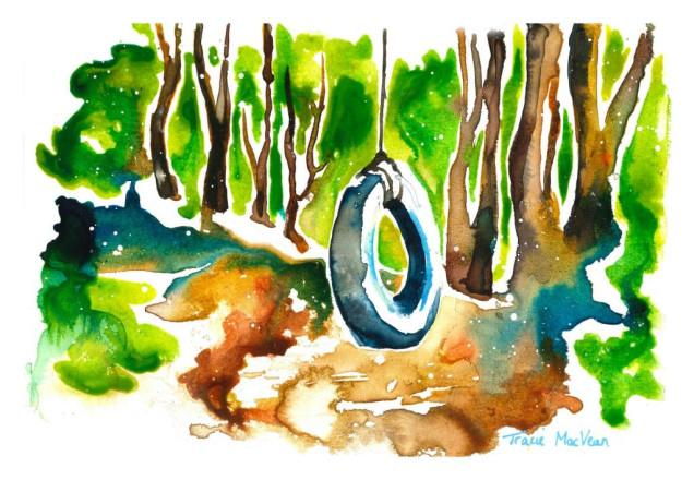Swing, 21cm x 15cm, acrylic ink on paper