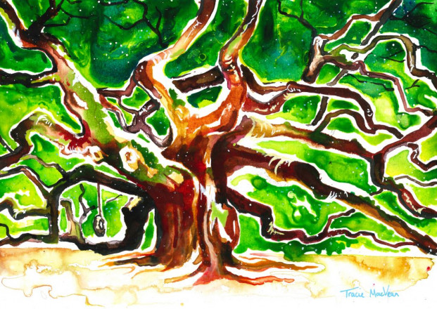 The Swing in Ancient Tree, 21cm x 29cm, acrylic ink on paper